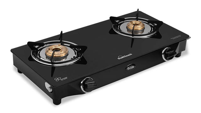 Sunflame GT Pride Glass Top 2 Brass Burner Gas Stove